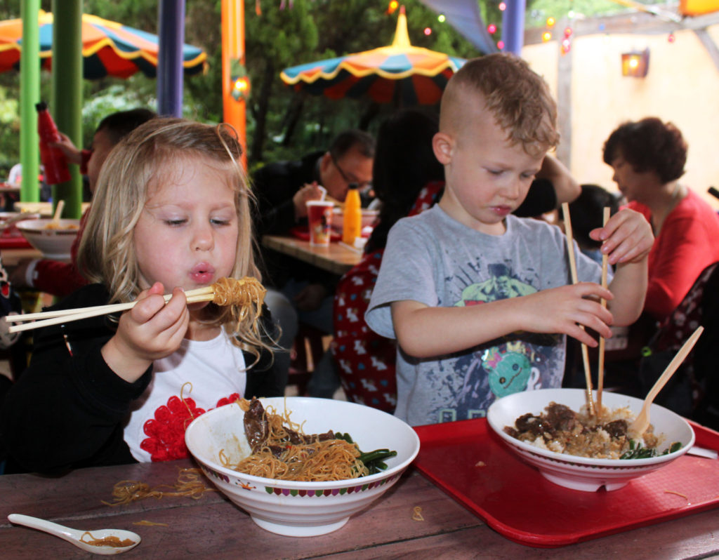 Hong Kong Disneyland, Toy Story, China, Disney, Family travel, traveling with kids, Disney themeparks, Children Using Chopsticks