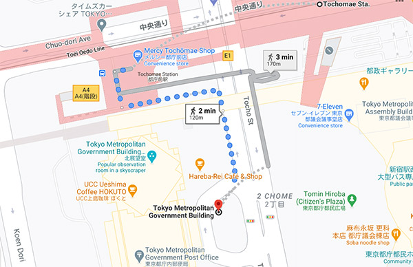 Map of Best view of Tokyo Tower