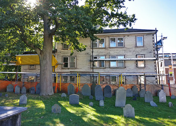 Old Burying Point Cemetery in Salem, Massachusetts and Grimshawe House