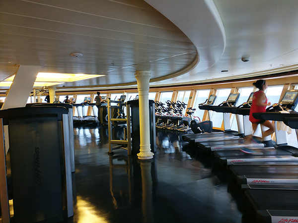 Disney Spa, Disney Cruise Senses Spa and Gym, Disney Cruise Gym, Treadmills Cruising, Cruising and Working Out, diaperonaplane, diapers on a plane, creating family memories, traveling with kids, family travel