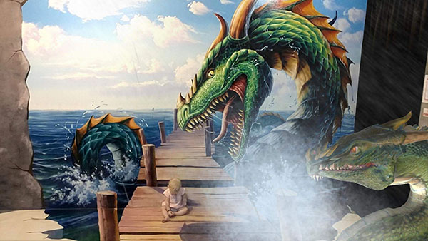 Dragons on the Dock at Trick Art Story in Incheon, Korea at Fairy Tale Village
