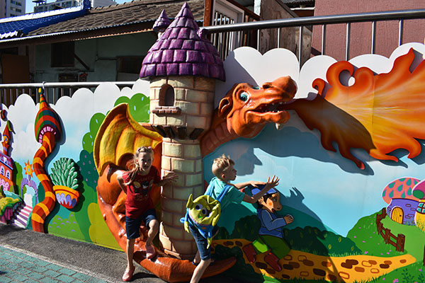 Dragons at Songwol-Dong Fairy Tale Village in Incheon, Korea