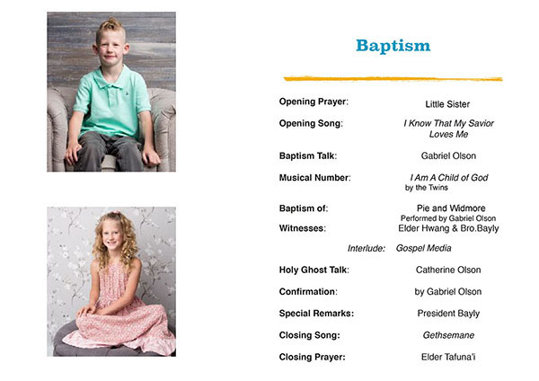 Twins Baptism Day Program
