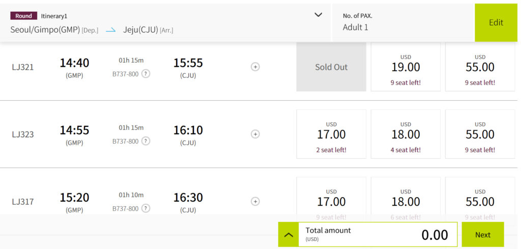 Jin Air Flights