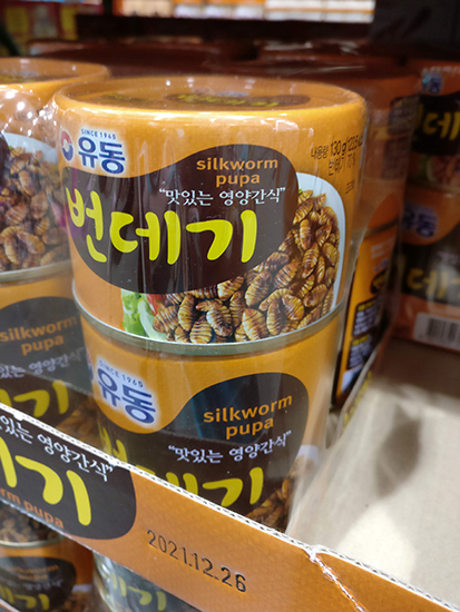 Silkworm pupa at Costco in Korea
