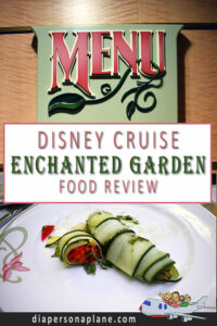 Disney Fantasy Cruise Ship Dining at the Enchanted Garden. Food and Restaurant Review themed after the French Versailles Garden.
