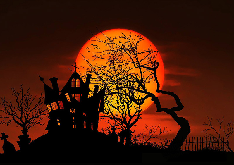 Haunted House Setting Sun