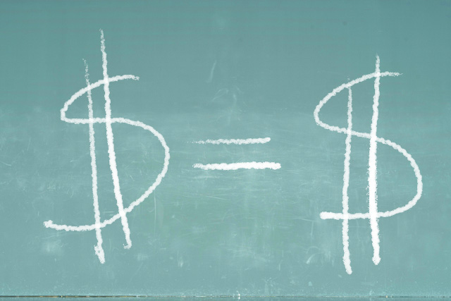 Money signs on a chalkboard