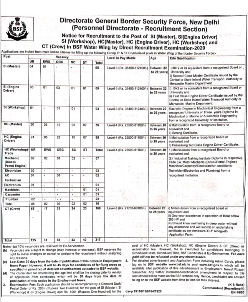 BSF 317 Constable Recruitment