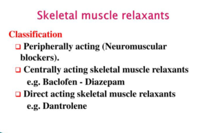skeletal Muscle Relaxants-classification