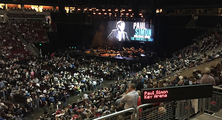 Closed Captioning at Seattle's Key Arena During Paul Simon Concert