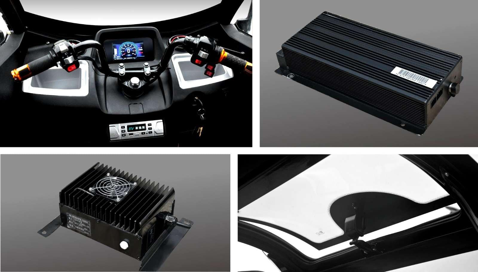 T-series collage with interior photos and battery component