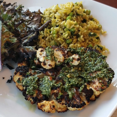 Plant-Based Grilling: Cauliflower with Chimichurri Sauce