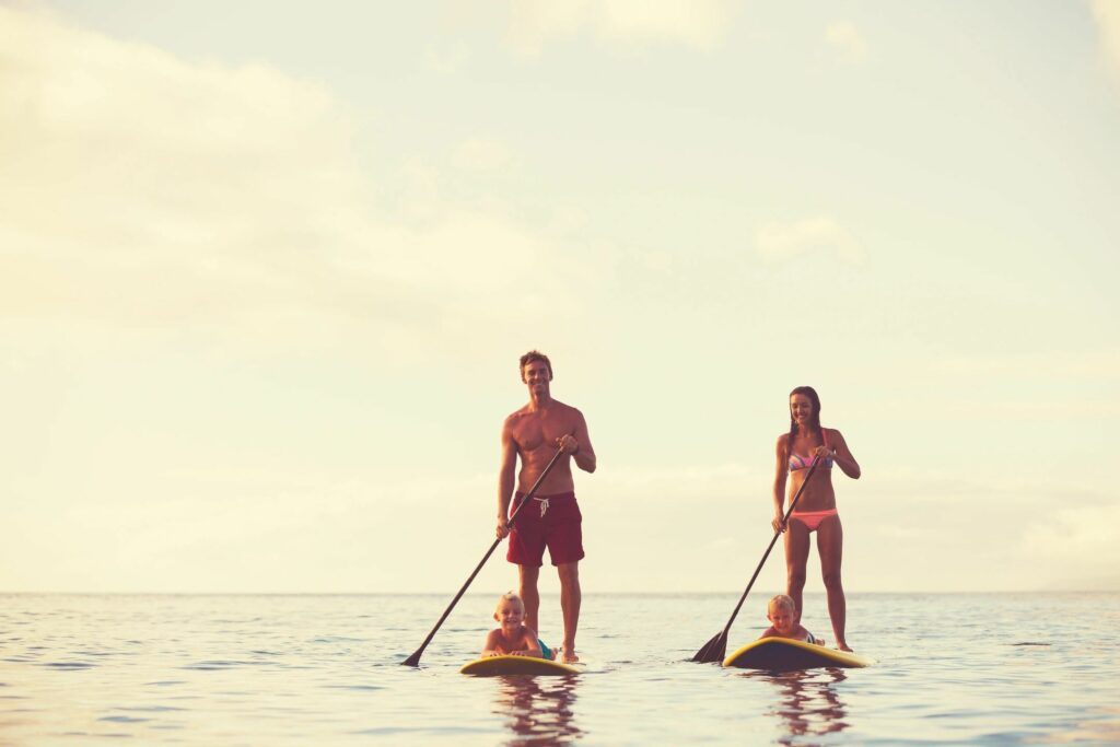 Family Stand Up Paddle Boarding in Newport Beach, CA.
