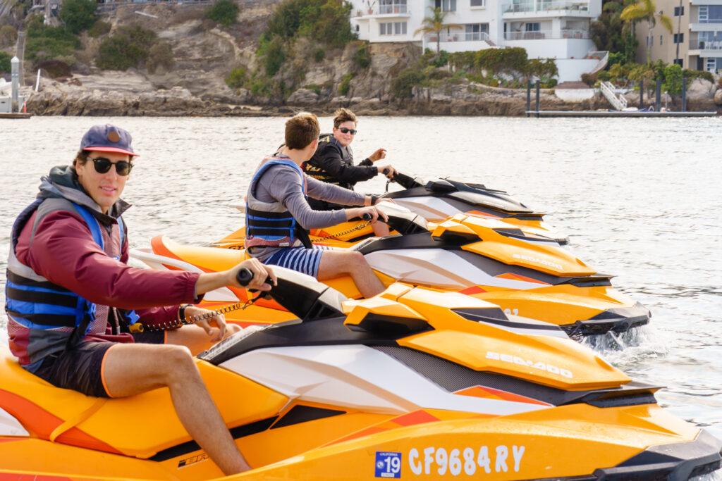 Jet Ski rentals leaving Newport Beach Harbor.