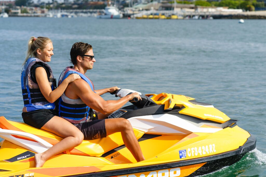 Couple renting a Jet Ski in Newport Beach, CA.