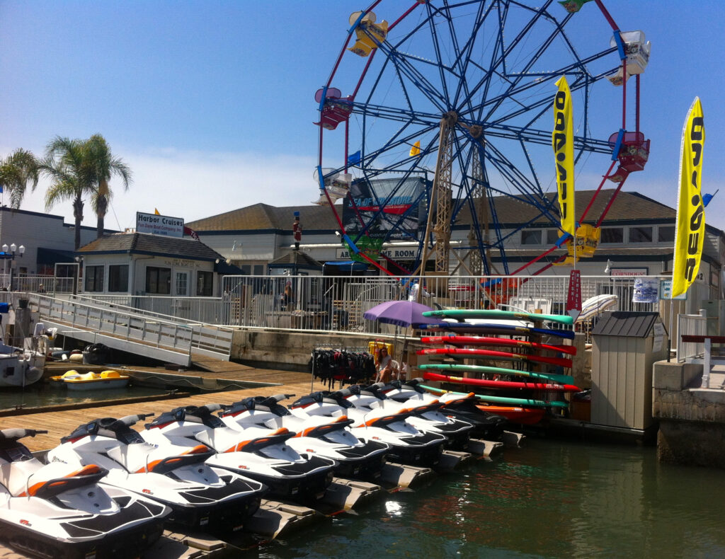 Jet Ski rental dock in Newport Beach, CA.