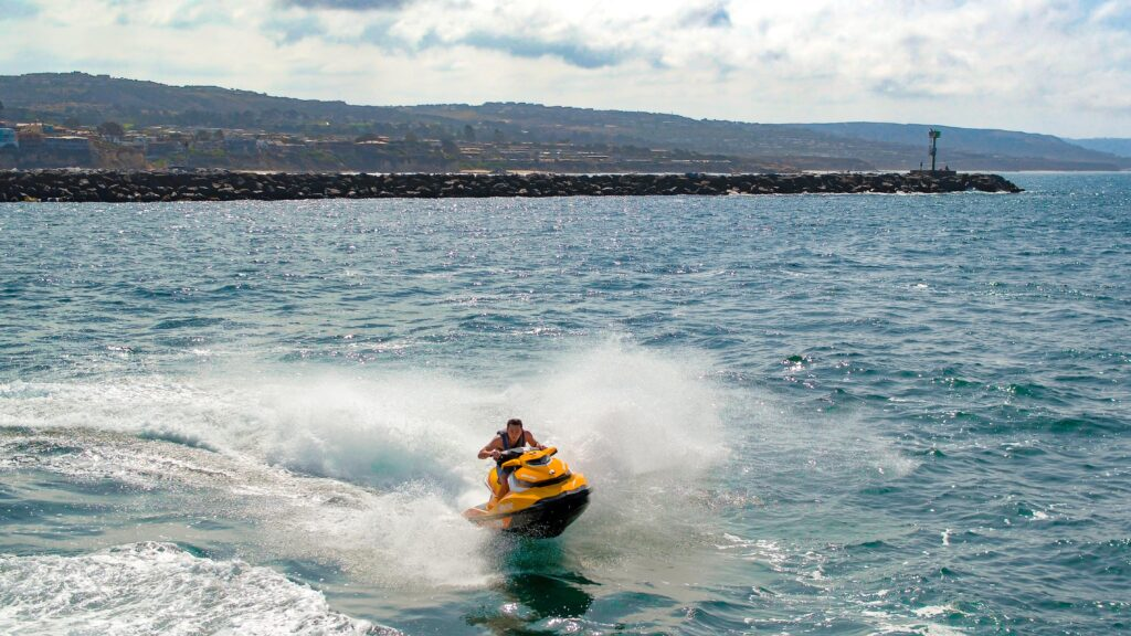 Sea Doo skipping across the ocean.