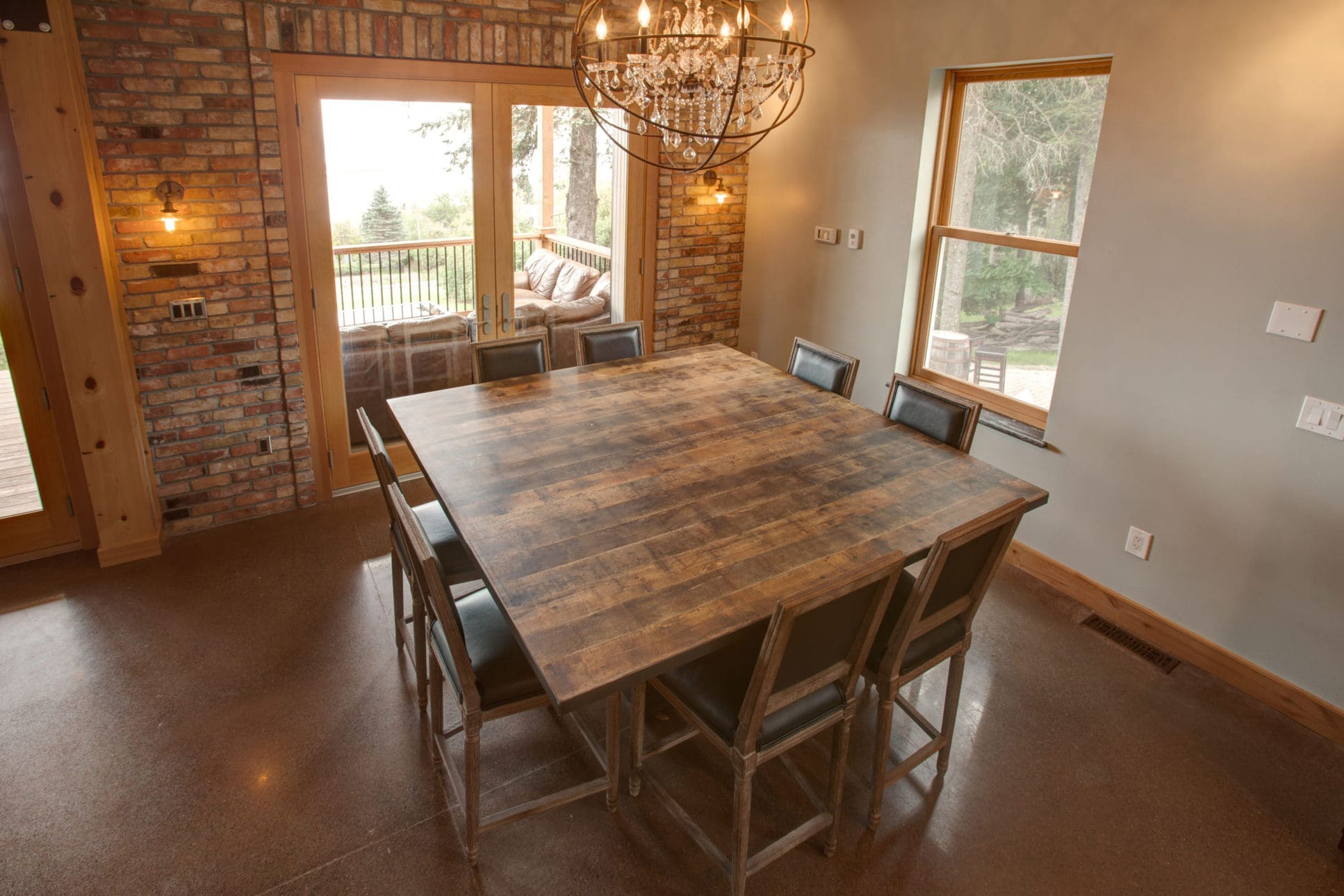 dark reclaimed wood dining table