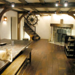 Basement with antique black walnut floor