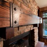 reclaimed wood mantel of douglas fir