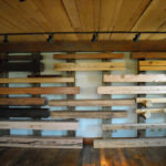 reclaimed wood mantels in showroom