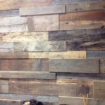 Close up of reclaimed wood tile paneling