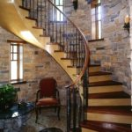 Stairwell made of antique black walnut flooring