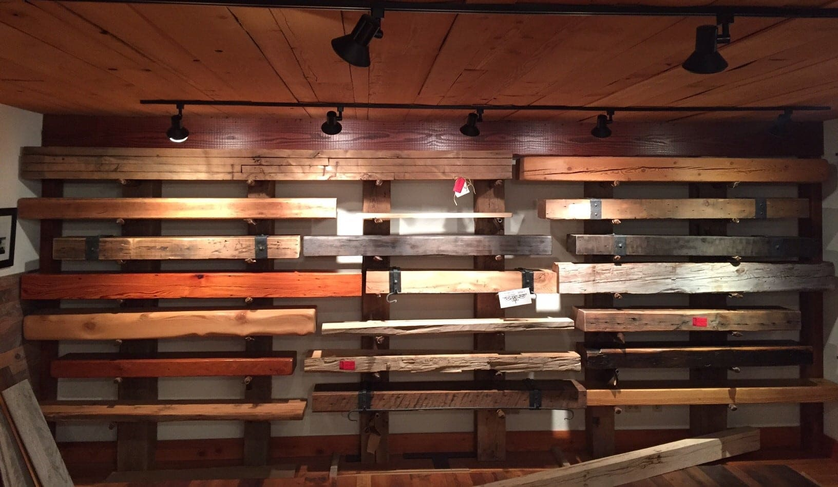reclaimed wood mantels on wall