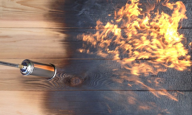 shou sugi ban burning by Manomin Resawn Timbers