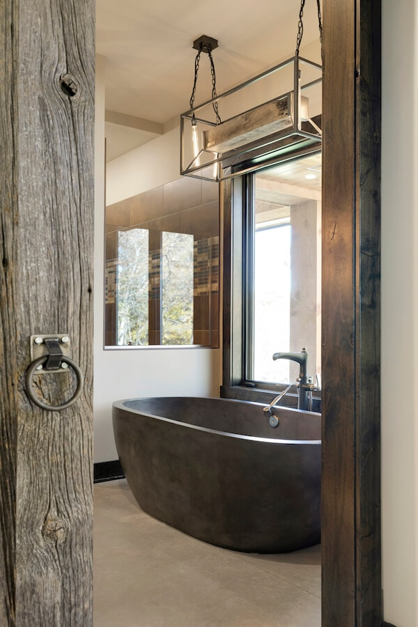 weathered gray wood bathroom