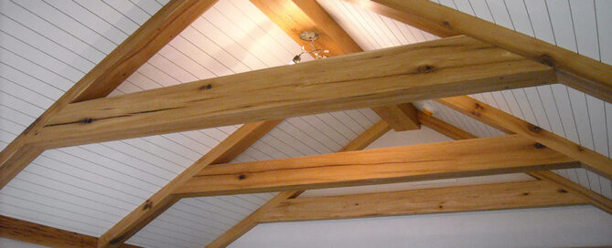 Reclaimed wood ceiling beams.
