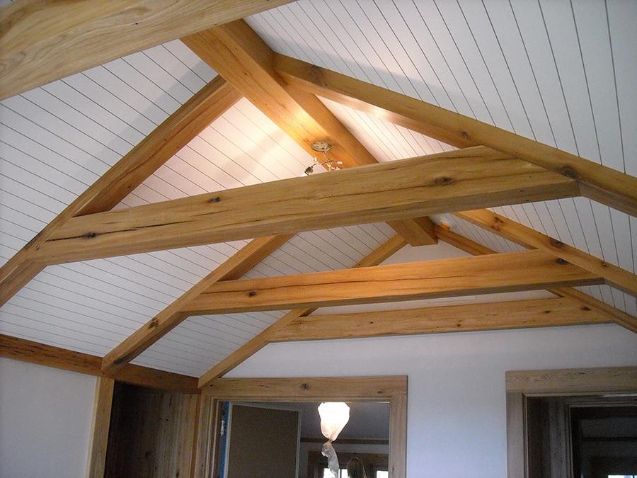 Reclaimed wood ceiling beams.