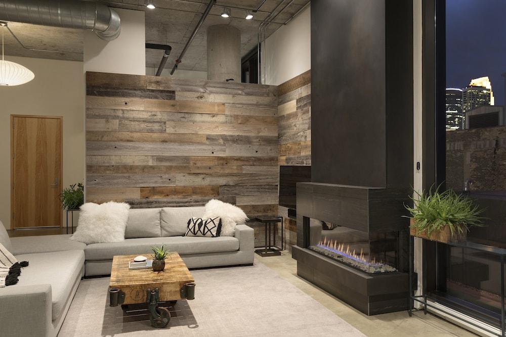 Corner wood paneled wall
