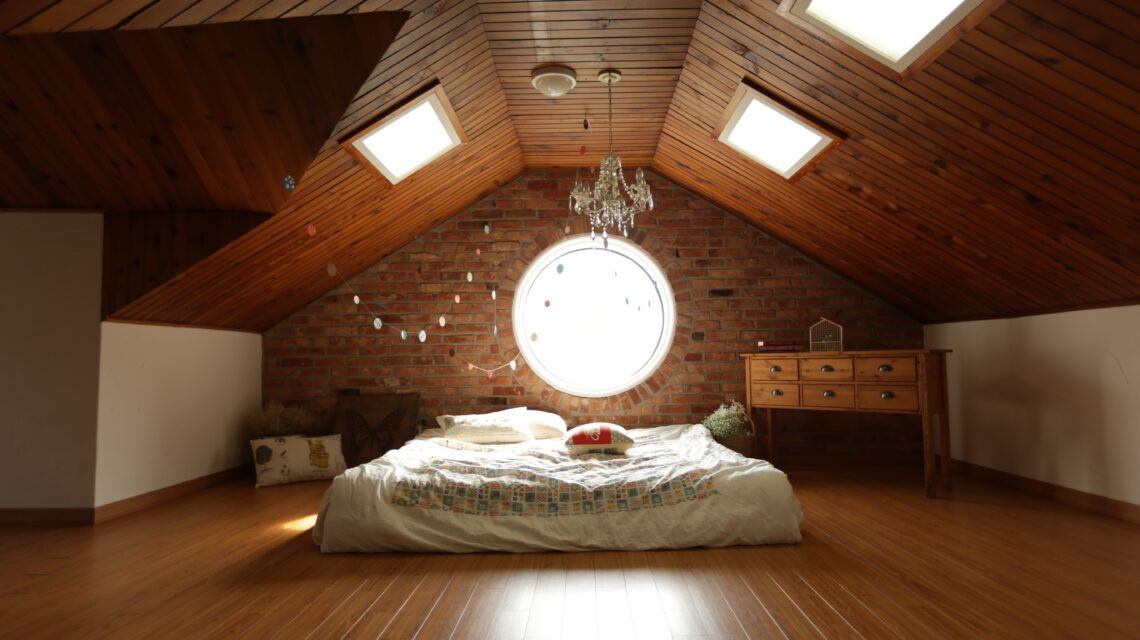reclaimed wood ceiling in a master bedroom