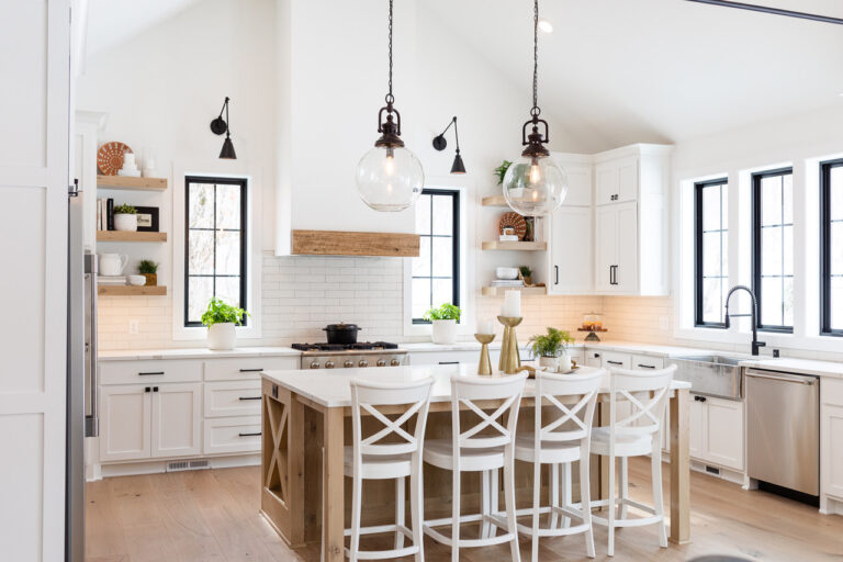 reclaimed wood beams in kitchen
