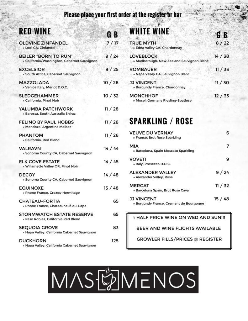 Mas y menos menu wine