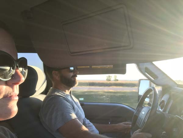 Sometimes you just have to double visor it as you head west into the sunset..