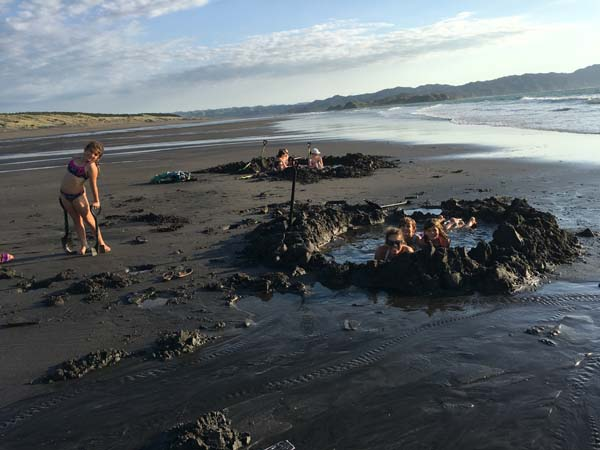 Kawhia beach has hot springs that come up at the beach. If you go down on low tide you can dig until you find the warm water bubbling up! Dig your hole & you have a jacuzzi on the beach!