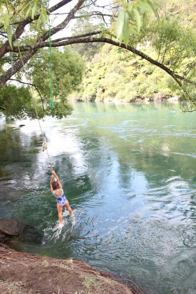 Swinging into the cold cold river!