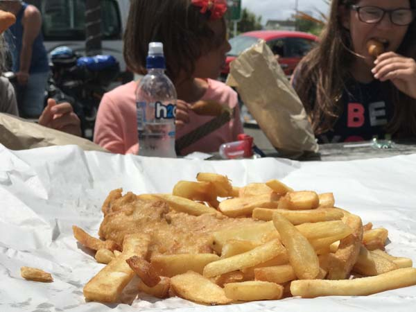 Fish & chips! In perfect Kiwi style wrapped in paper!