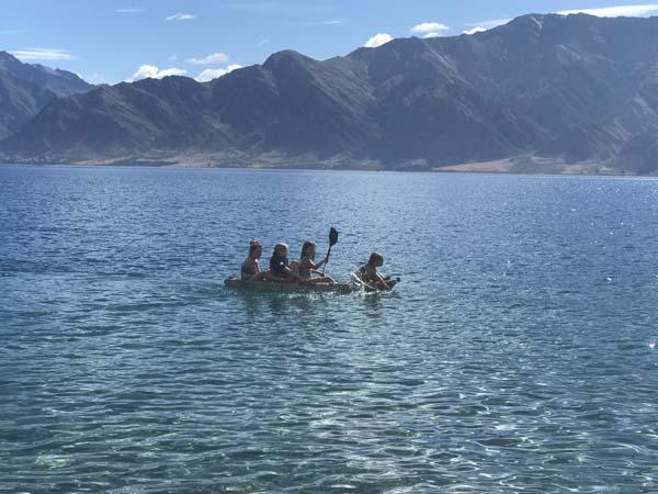 The girls making more Kiwi friends again on Lake Hewea!