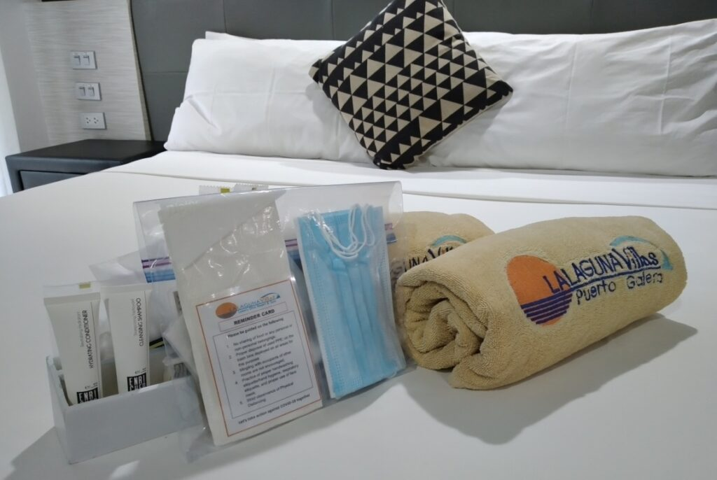 The LLV Cares Kit is available in every room - the care kit includes hand sanitizer, a face mask, and antibacterial wipes, and can be replaced or replenished by contacting reception.