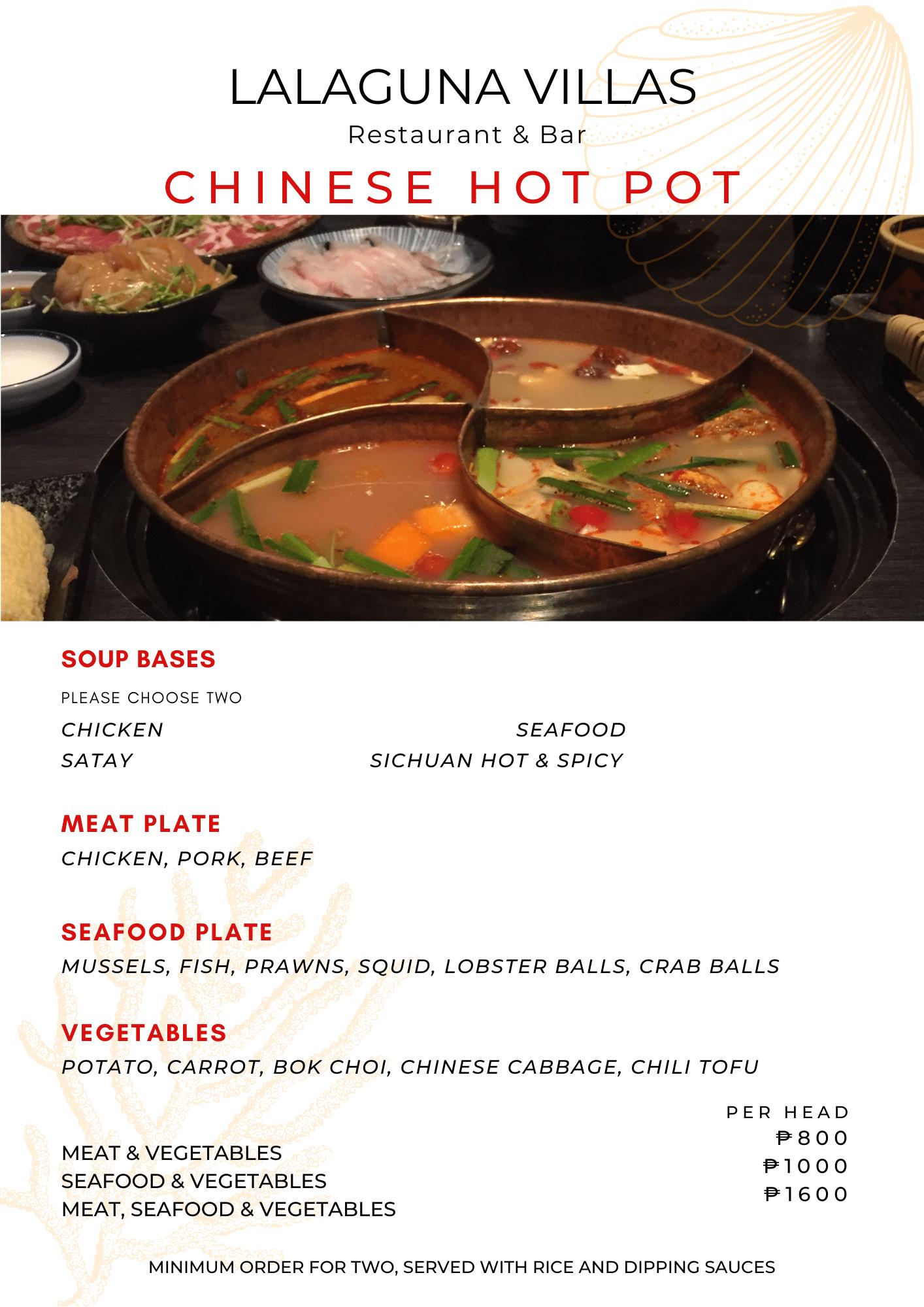 Lalaguna Villas Menu - Chinese Hot Pot