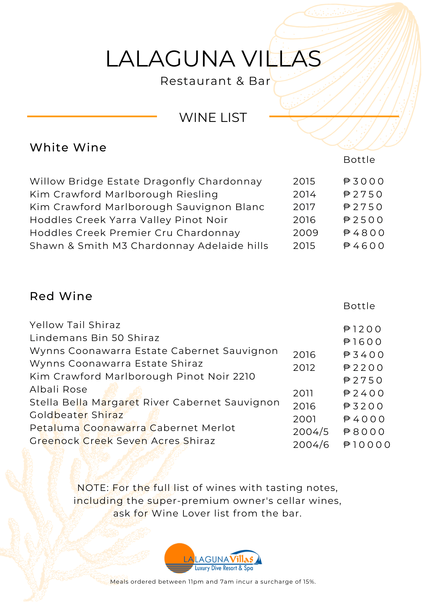 Lalaguna Villas Puerto Galera Wine List 2
