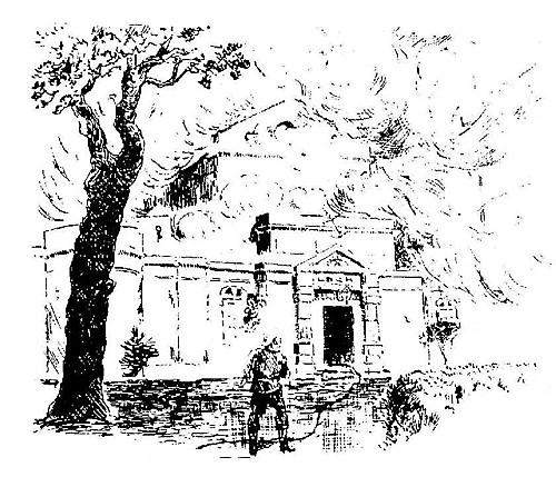 Drawing of 1892 Exhibition Hall Fire being Extinguished