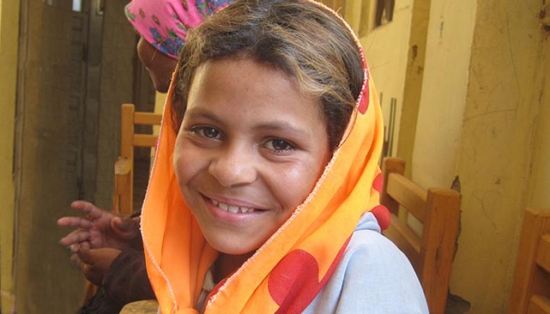 Egyptian Girl, orange scarf