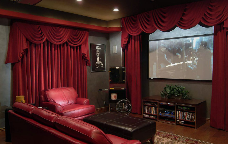Red and deep maroon theatre room