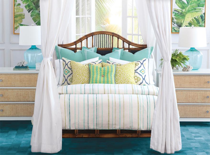 White , sky blue themed bedroom