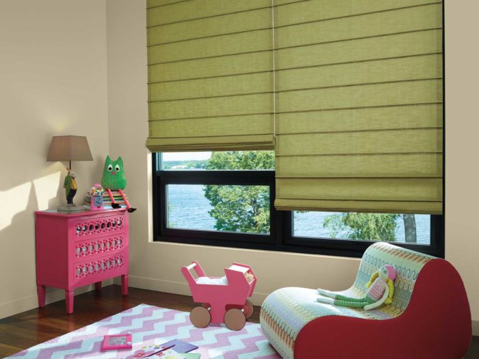 corner of kids room with window and shades